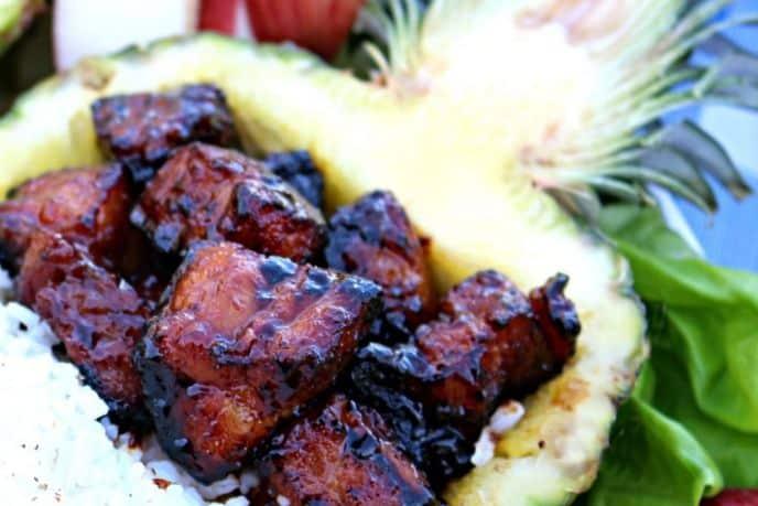 Serving Pork Belly Burnt Ends in a Pineapple