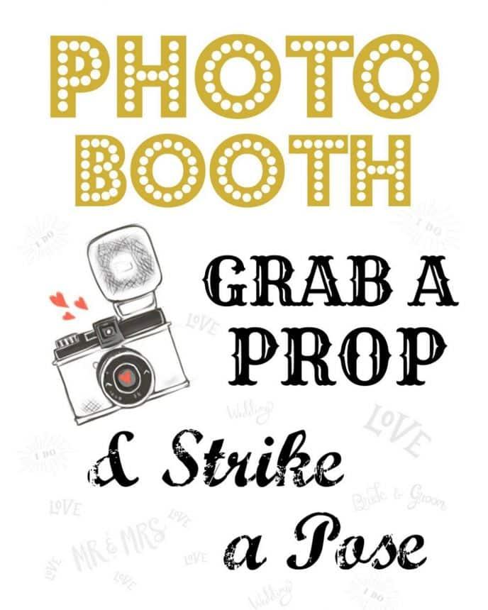 Free wedding photo booth printable sign