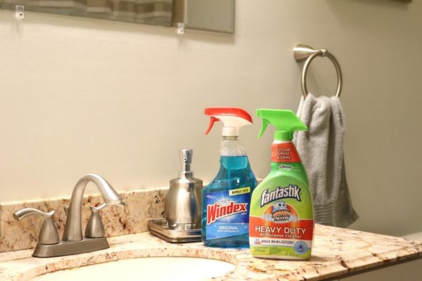 Holiday cleaning, bathroom and towel ring installation