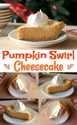 Easy Pumpkin Cheesecake Recipe! This Pumpkin Swirl Cheesecake is one of our favorite family holiday desserts and it's wicked easy to make! Check it out #pumpkin #cheesecake #holiday #dessert