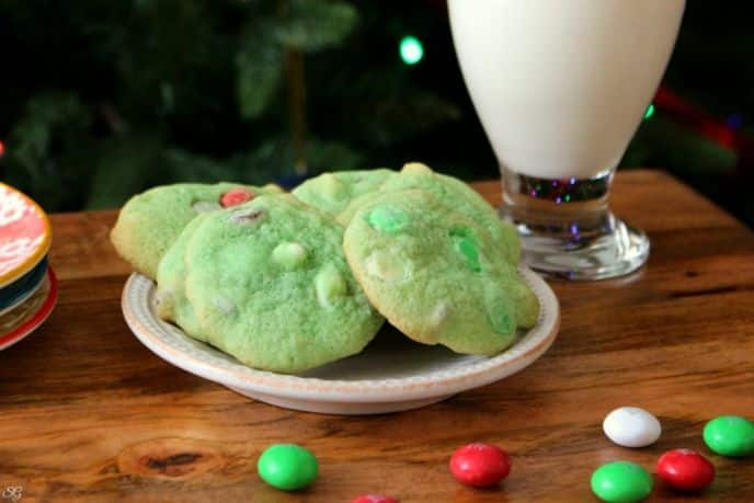 Mint Cookies Loaded with M&M's for Santa!