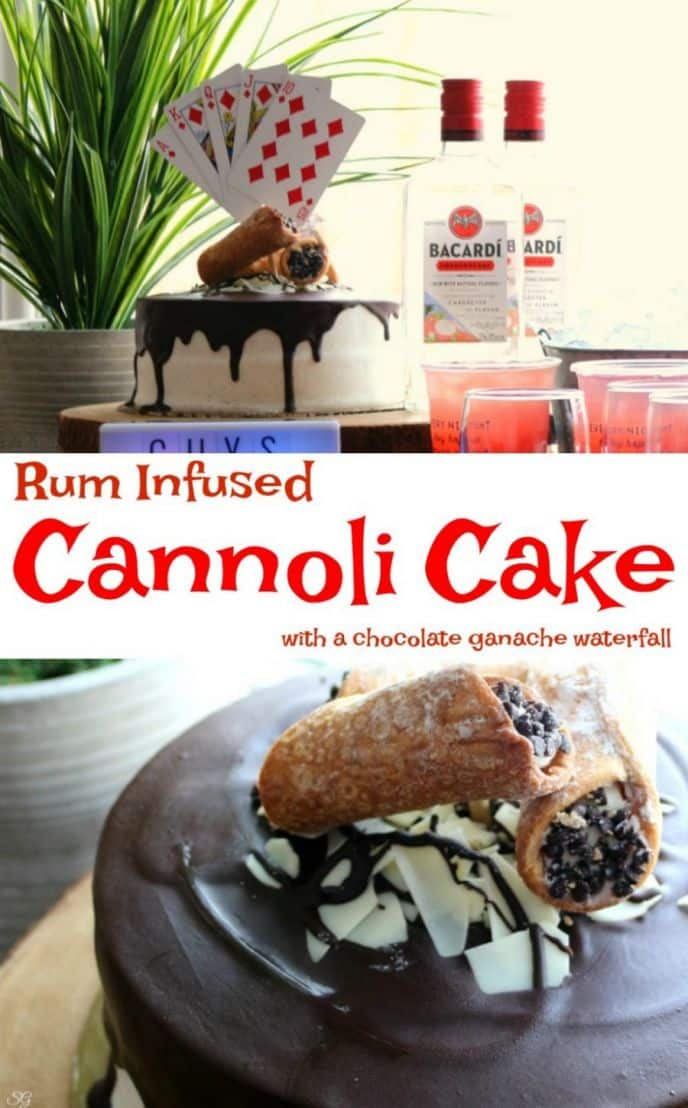 Cannoli cake infused with rum. We put Bacardi Dragonberry to the test with this easy recipe for cannoli cake! A rum infused cake that anyone can make and manly enough for poker night. This rum cannoli cake with chocolate ganache and cannoli filling is perfect for game night!