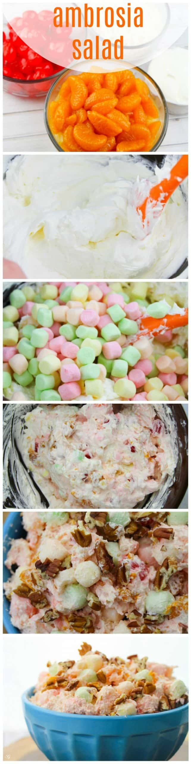 How to make ambrosia salad. A tutorial to make ambrosia salad with step by step photos and instructions