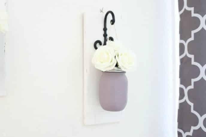 DIY Mason Jar Wall Sconce Flower Holder