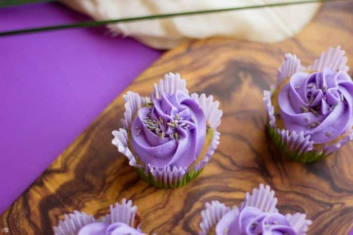 Cupcakes with Purple Buttercream Frosting