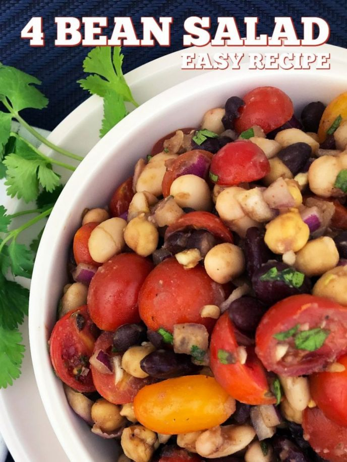 Easy 4 bean salad recipe! Make this four bean salad for summer barbecues or even holiday parties!