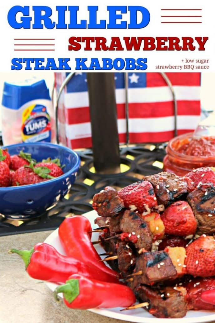 BBQ Grilled Strawberry Steak Kabobs with a Spicy Low Sugar Strawberry Barbecue Sauce! This EASY recipe will sure fire up your backyard BBQ this summer. Don't forget the TUMS Sugar-Free Melon Berry, it has all the extra-strength power of TUMS, without the sugar!