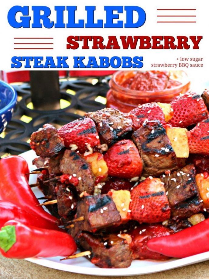 Grilled Strawberry Steak Kabobs Skewers with Low Sugar Strawberry BBQ Sauce Recipe! It's real easy to make and absolutely delicious!