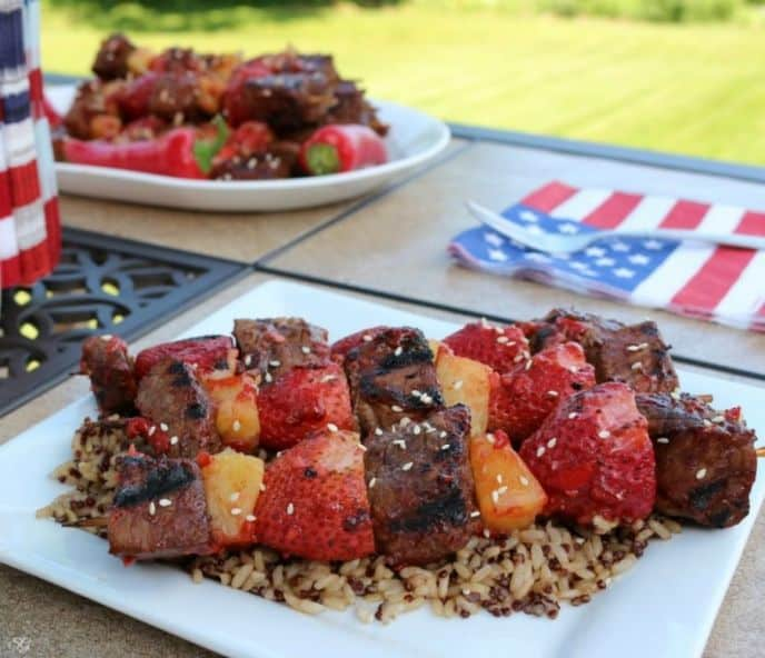 Grilled Strawberry Steak Skewers with Rice and Quinoa