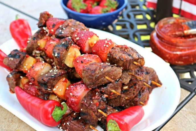 Strawberry Steak Kabobs with Spicy Strawberry BBQ Sauce Recipe