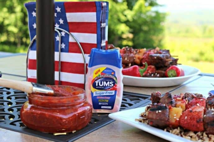 Strawberry BBQ Sauce Recipe and heartburn relief with TUMS Sugar-Free Melon Berry for occasional heartburn.