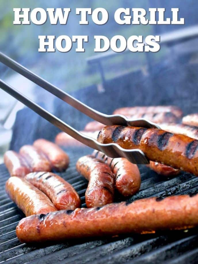 How To Grill Hot Dogs! Learn how grilling hot dogs is super easy - no fancy recipe here. Fire up your BBQ grill and let's grill hotdogs!