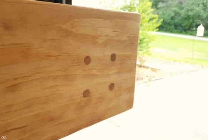 Wood plugs for finished look on headboard