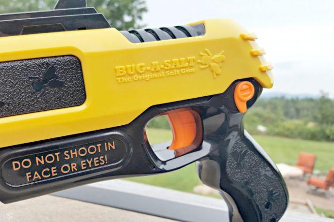 Bug A Salt Fly Gun safety switch. Kill pesky flies the fun way with the Bug A Salt Fly shooter!