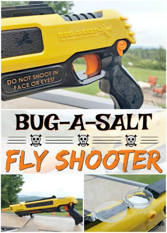 Bug A Salt Fly Gun Shooter! Kill flies the fun way with this fly shooter that runs on salt! This will be your favorite new BBQ tool, or outdoor entertainment! It's a fun way to swat flies! #bugasalt #flyshooter #flyswatter #bbq #bbqtools