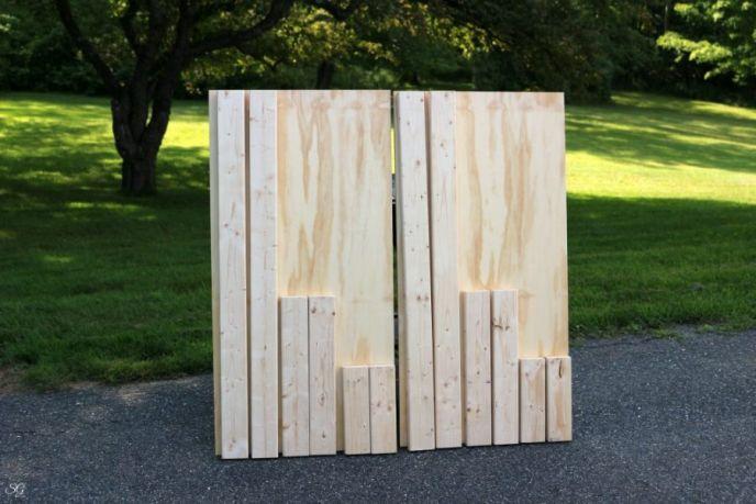 DIY Cornhole Boards 2x4 cuts and plywood cuts