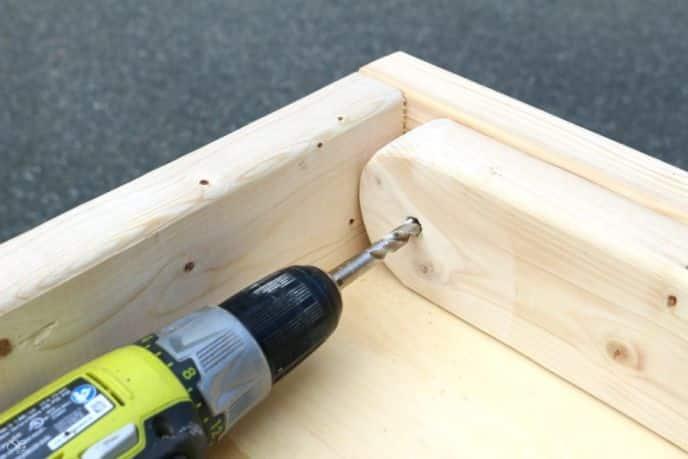 Cornhole board legs, drilling bolt holes