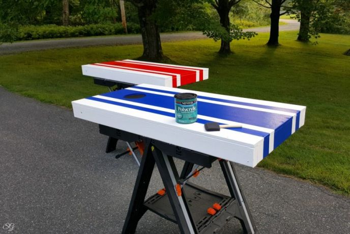 Polycrylic seal top coat for cornhole boards