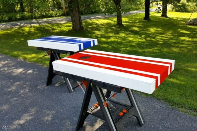 Stripes Red, White, and Blue DIY Cornhole Set