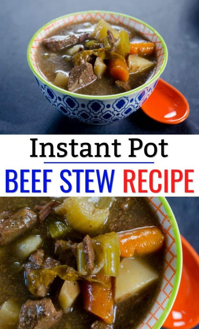 Instant Pot Beef Stew Recipe! Check out this delicious beef stew recipe that you can make in your instant pot! It's amazingly yummy and your family will love it! #instantpot #beefstew #recipe #recipes #easyrecipe #delish #yum #stew #carrots #celery #delicious #cooking #pressurecooker #instantpotrecipe #instantpotrecipes #food #foodie