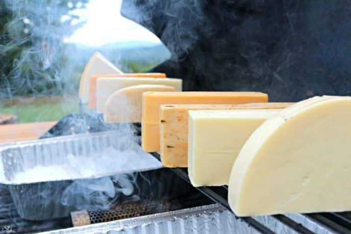 Cold smoking cheese on a BBQ grill.