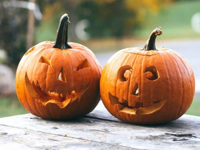 DIY Halloween carved pumpkin jack-o-lanterns.