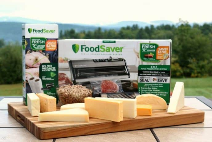 Smoking cheese, using Foodsaver Vacuum Sealer System to preserve the smoke flavor and age the cheese.