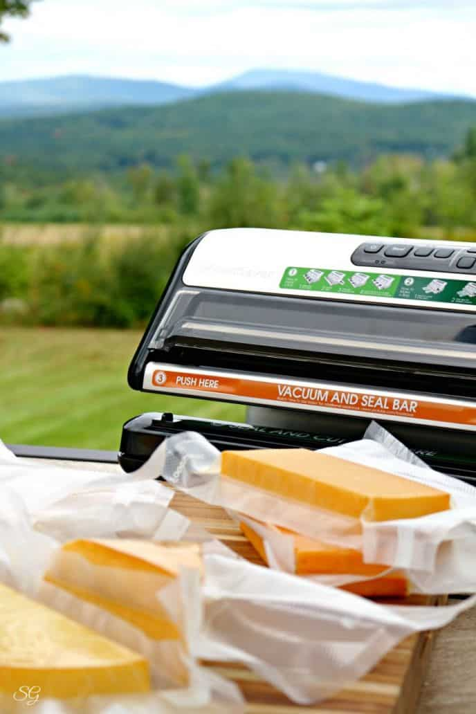 Smoked cheese being vacuum sealed with Foodsaver Vacuum Sealer and Sealer Roll Bags!