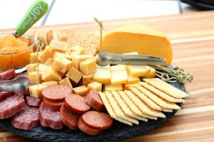 Smoked cheese and meat.