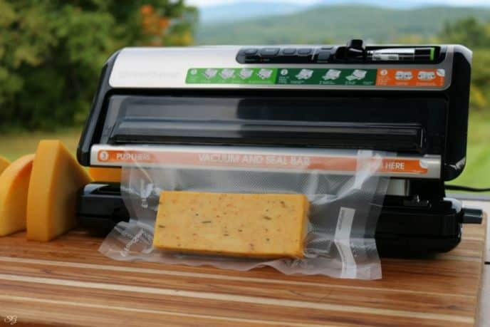 Smoked cheese sealed in a vacuum sealer bag.