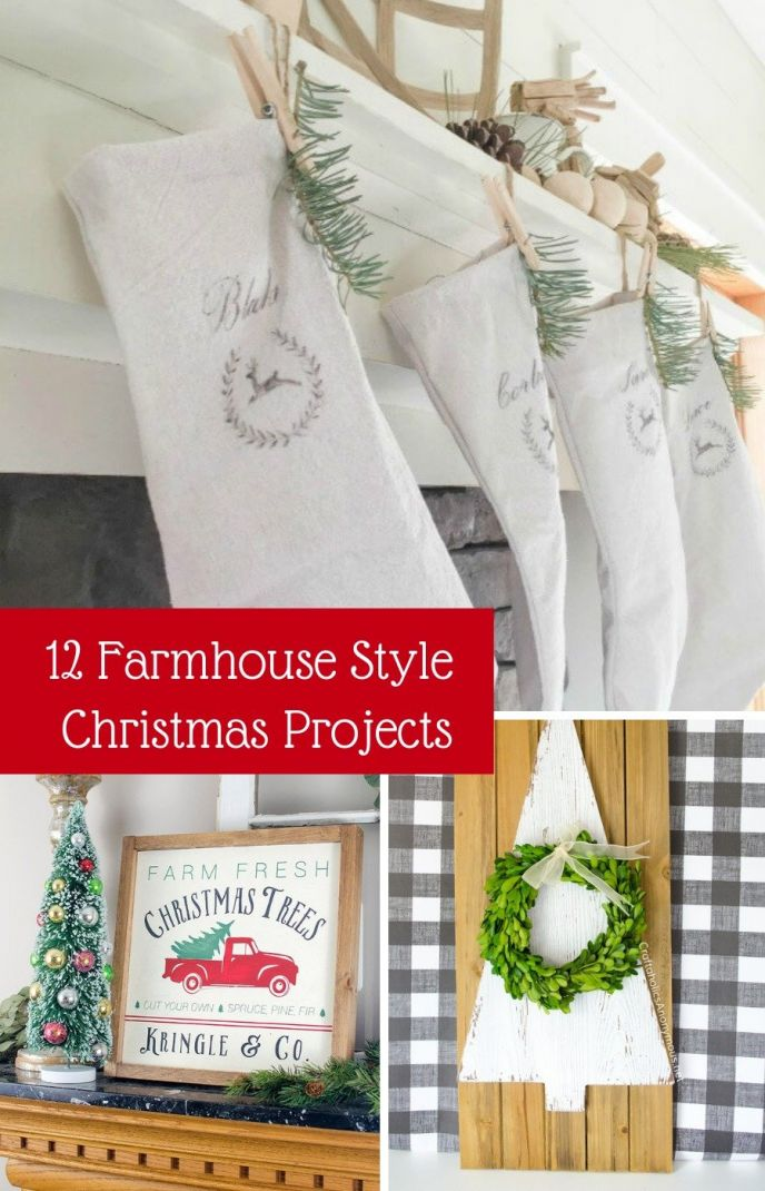 Christmas DIY holiday farmhouse projects for your home decor! Fun holiday DIY farmhouse style craft and home decoration projects to make your home holiday ready!