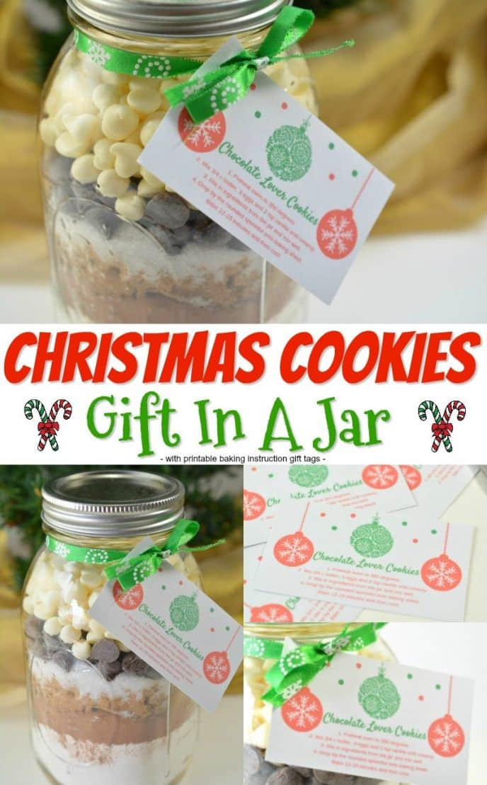 Cookies in a jar gift! Chocolate cookies in a mason jar ready to be gifted, complete with printable baking instructions! Make these cookies in mason jars as Christmas gifts for everyone you know!