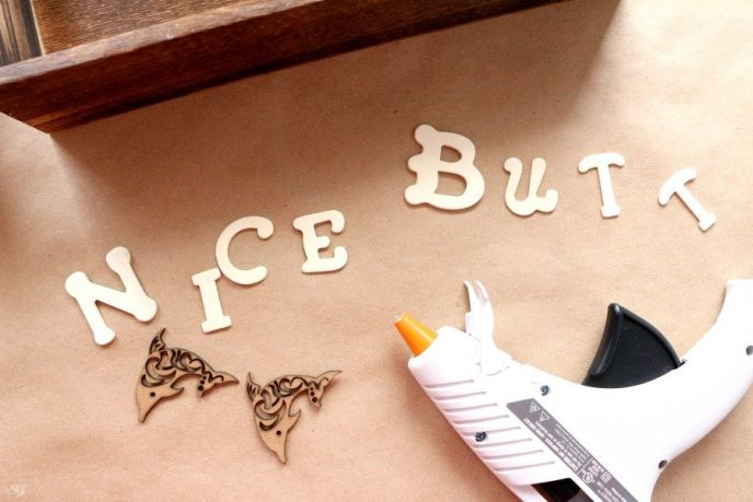 Letters for DIY toiletry organization box.