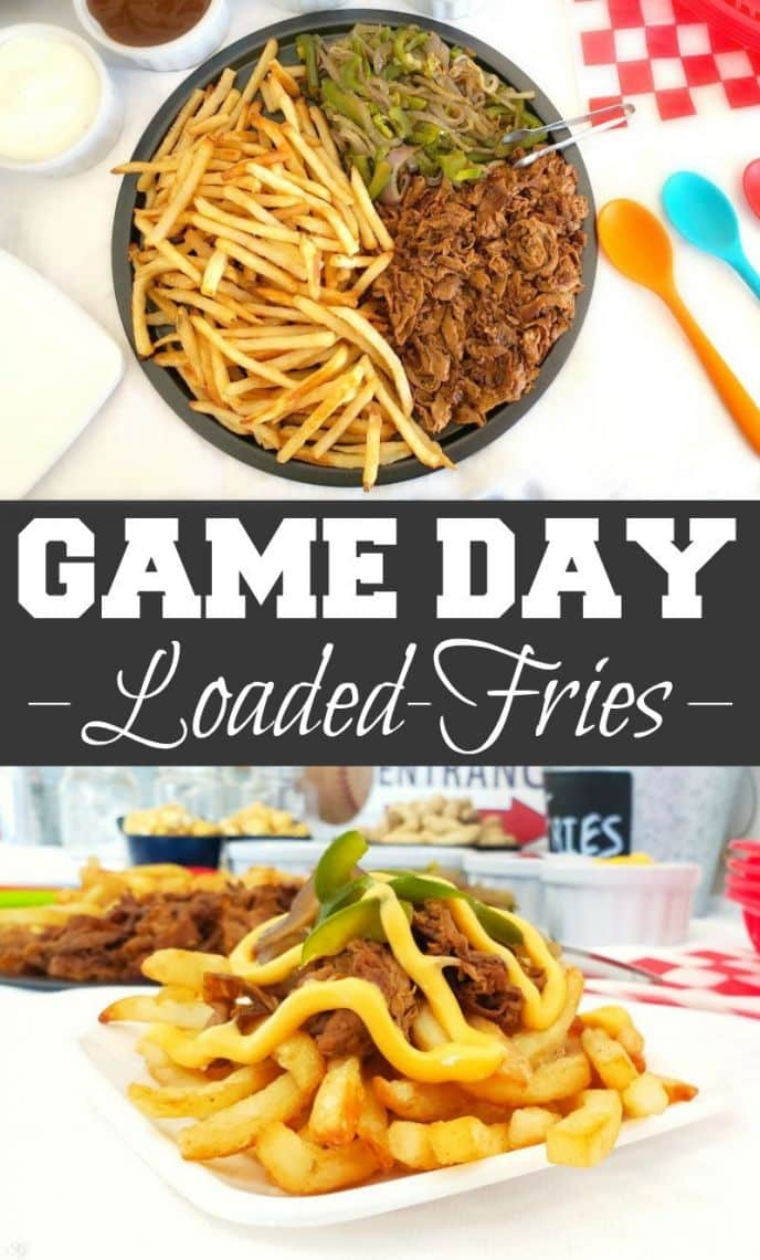 Loaded Steak and Cheese Fries Recipe! Click here to get this EASY steak and cheese loaded fries recipe, perfect for game day! #MyMcCainPotatoes #McCainPotatoes #gameday #fries #recipe #easyrecipes #delicious #yummy