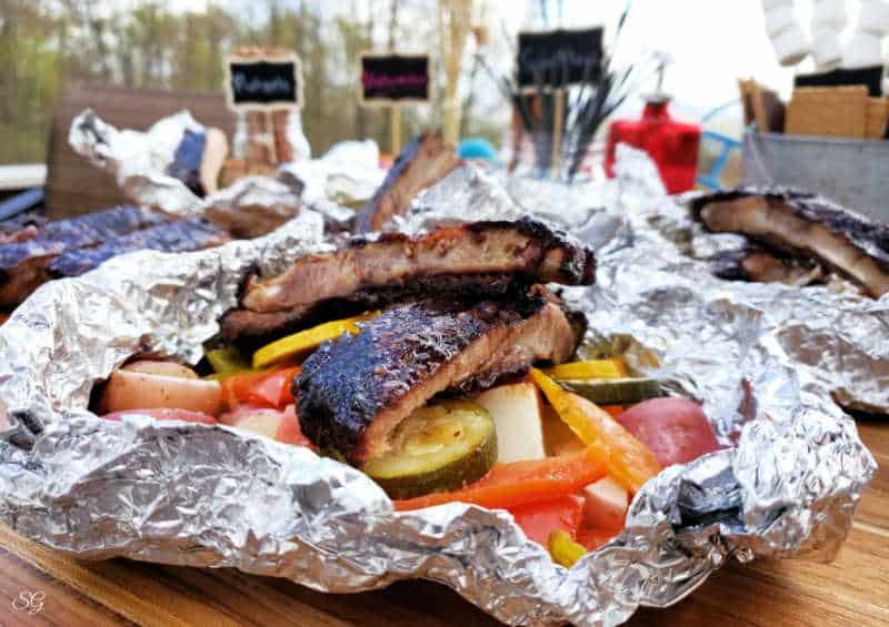BBQ Ribs, Vegetable Foil Packs and Camping Themed Backyard Barbecue Idea