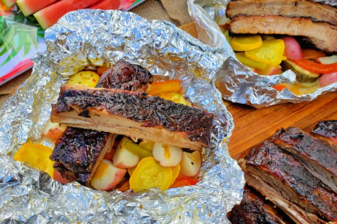 Camping Foil Packs with Grilled Ribs