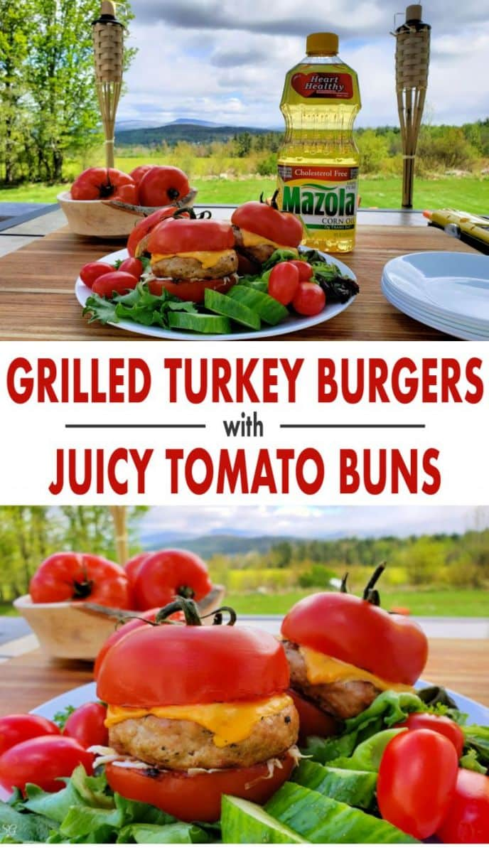 Click to get this EASY grilled turkey burger recipe. The burgers are juicy and so are the delicious grilled tomato buns! #MarinadesWithMazola #MakeItWithHeart #grilling #grilled #turkey #burgers #tomatoes #grill #barbecue #BBQ