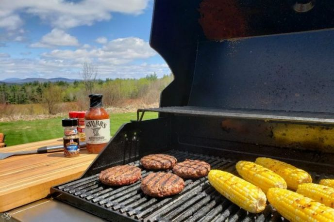 Grilled taco burgers with Mexican street corn.