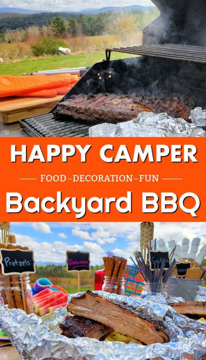 A fun themed backyard BBQ party idea! Celebrate summer with this fun camping themed barbecue right in your own back yard. Complete with Hatfield Honey Garlic Teriyaki St. Louis Ribs, veggie foil pack and of course watermelon and s'mores, too!