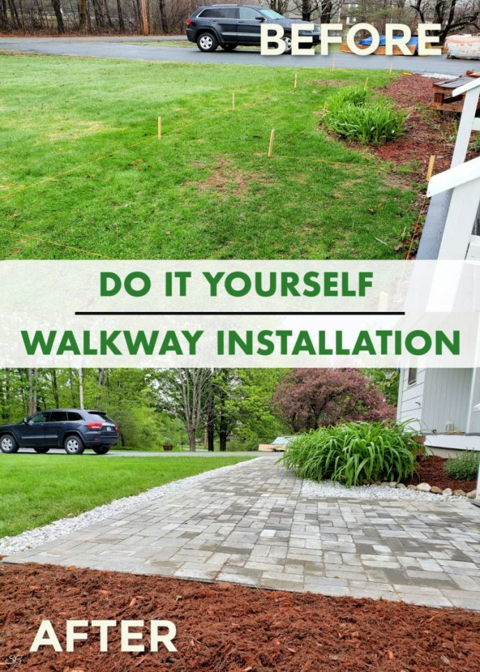 DIY Paver Walkway Installation. Click to learn how to install a paver walkway at your home. #diy #homeimprovement #curbappeal
