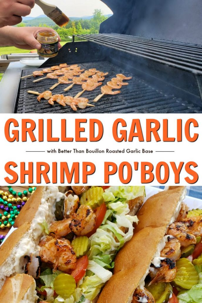 New Orleans Po'Boys recipe with a twist. Garlic shrimp on the grill, sandwiches filled with po'boys sandwich filling.