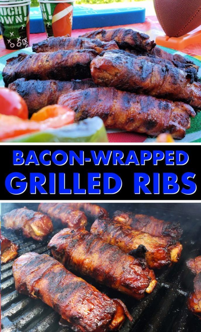 Bacon Wrapped Ribs Grilled - BBQ Grilling Bacon Wrapped Pork Ribs - #MakeEasyMoreInteresting #SimplyHatfield