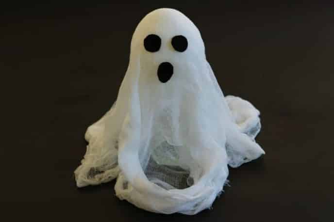 Attaching faces to Halloween cheesecloth ghosts