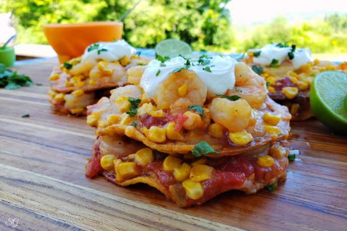 Easy Crunchy Shrimp and Corn Tostadas!