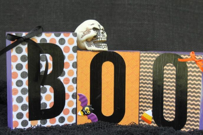 Making Halloween decorations - Boo Boxes