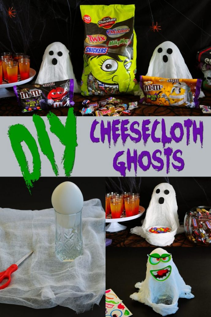 Cheesecloth ghost tutorial - Make these fun Halloween ghosts with just a few items! #FlauntYourHaunt #HalloweenCheeseclothGhost #Halloween