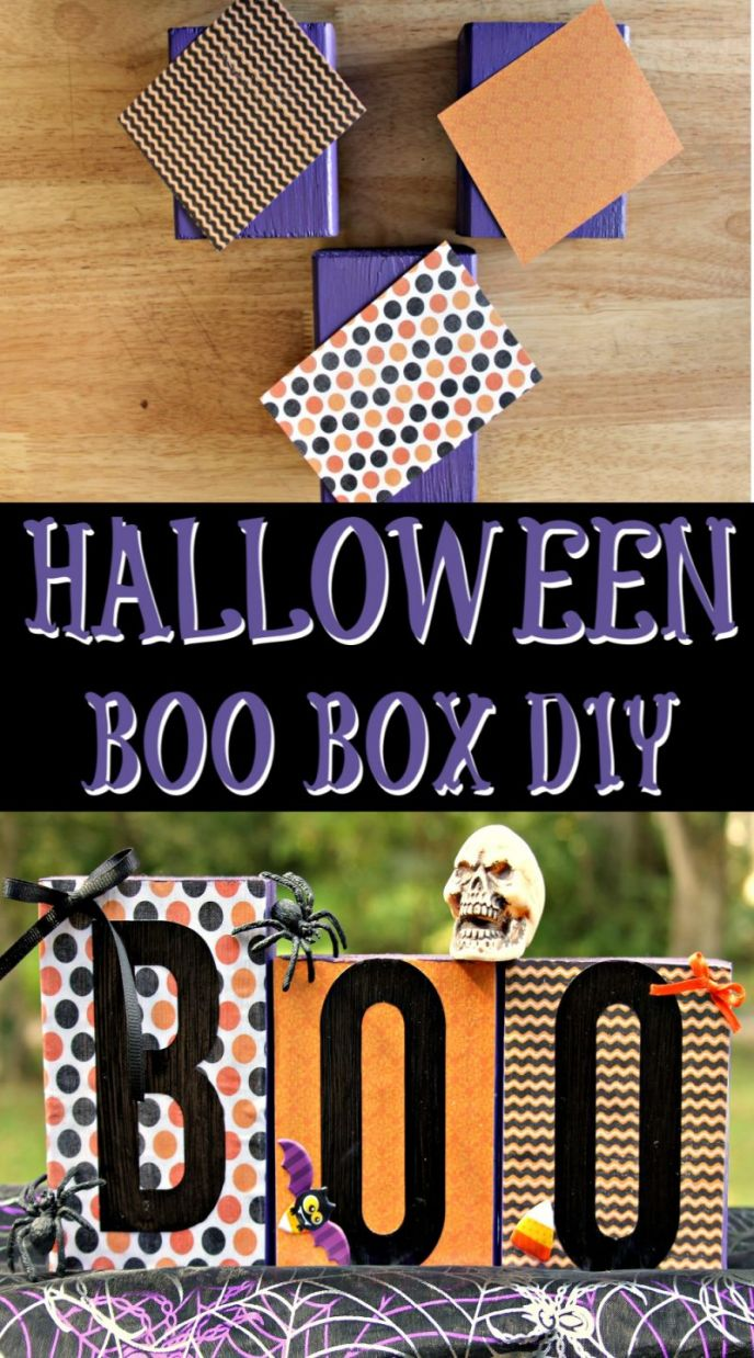 DIY Halloween home decor project, easy BOO Box crafts.