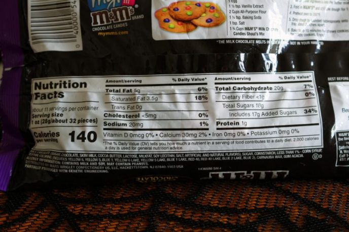 Nutrition facts for M&M'S® Milk Chocolate Candies Ghoul's Mix candies