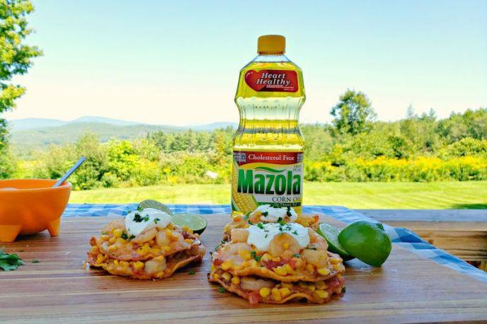Shrimp and corn tostadas