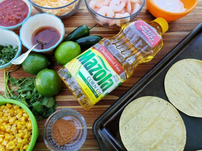 Ingredients to make Crunchy Shrimp Tostadas